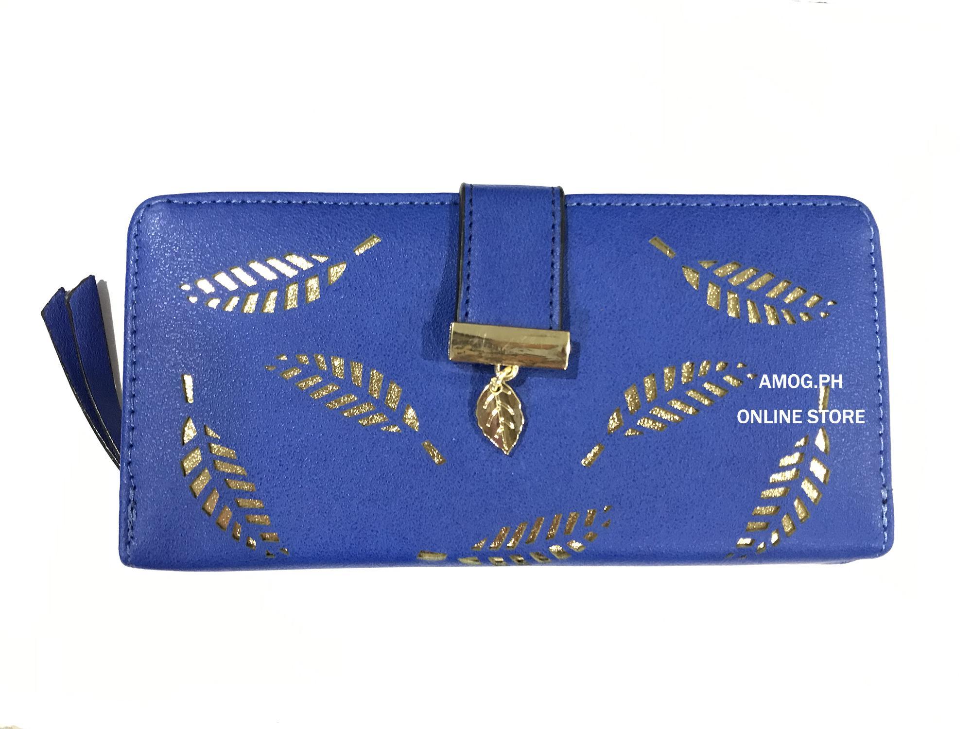 cf400fdff0c AMOG Korean Lady Long Wallet Hollow Out Leaf Leather Clutch Card Holder  Purse Lady Long Handbag