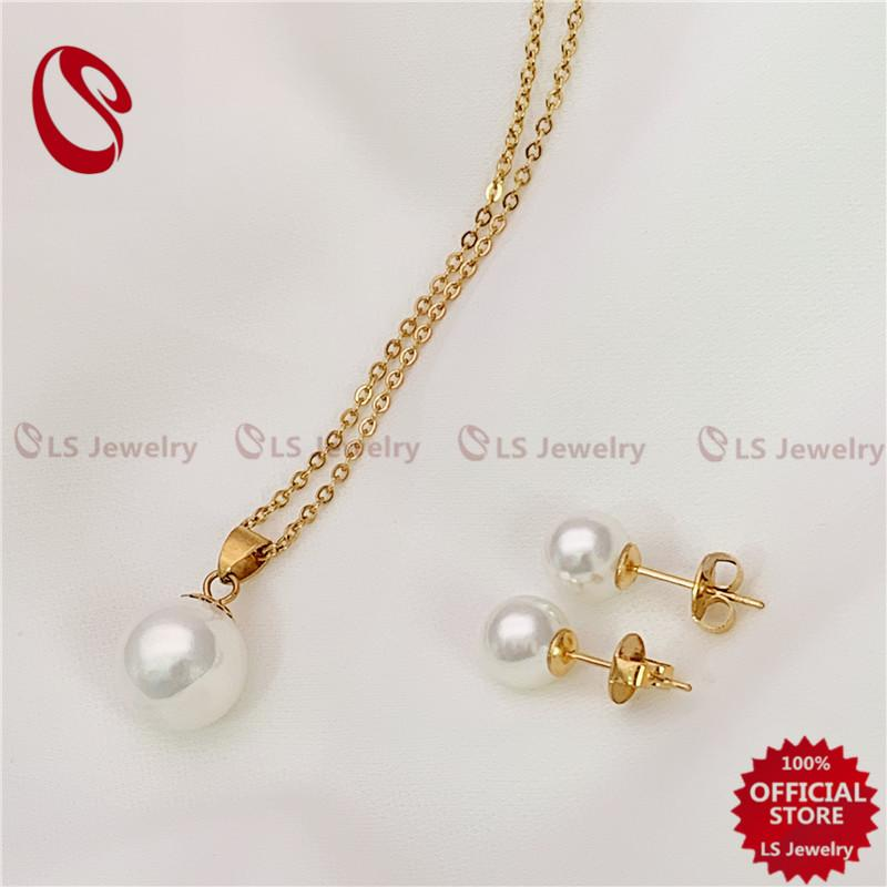 LS Jewelry Stainless Gold Pearl 2In1 jewelry Set 64#