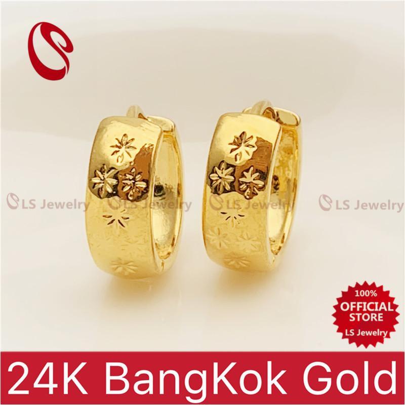 LS Jewelry 24K Bangkok Gold plated Hoop Earrings E216 E217