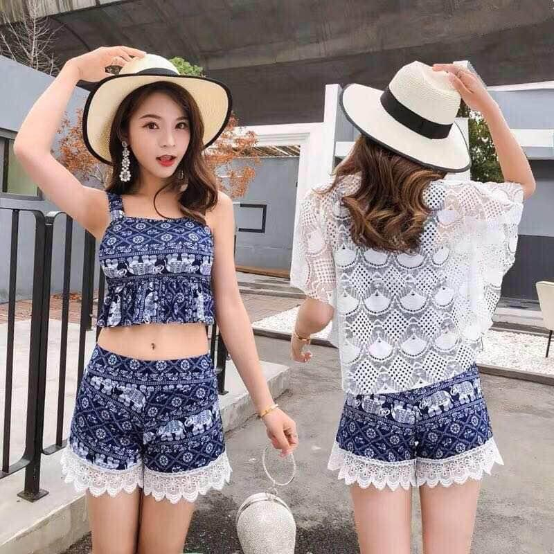 02d1d03caa BEEMO-NT 2019 Summer Sexy 3 in 1 Beach SwimWear Bikini Set Swimsuit Crochet  Top