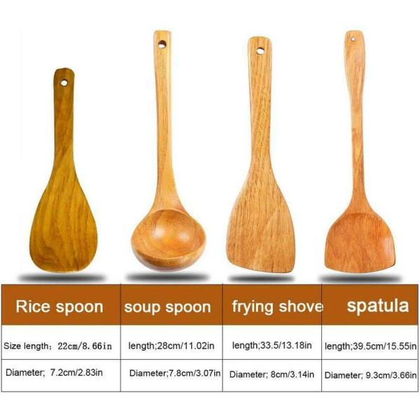 4Pcs Wooden Shovel Spoon Non Stick Wood Long Rice Spatula Kitchen Cooking Utensil Hand Stir Fry Tools Sets