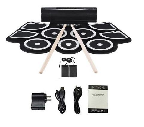 Portable Electronic Roll Up Drum Pad Set 9 Silicon Pads Built-in Speakers  MIDI supported (w/ online software download available)