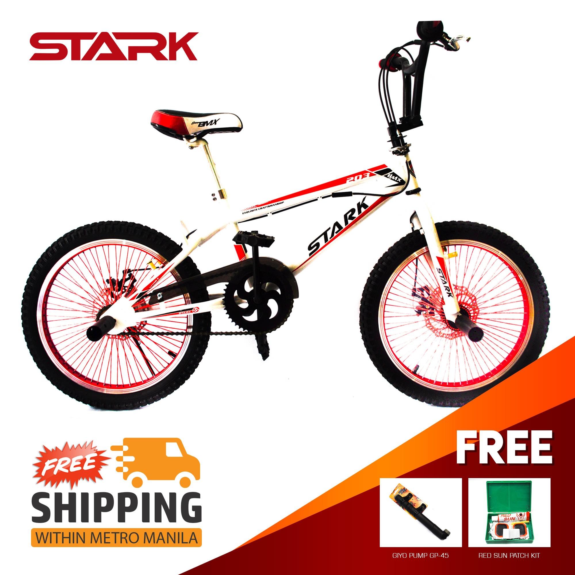 STARK BMX 20 FREESTYLE DISCBRAKE 68 SPOKE RIMS WITH ROTOR FOOTPEG RED WITH  FREE TIRE PATCH AND GIYO PUMP 45