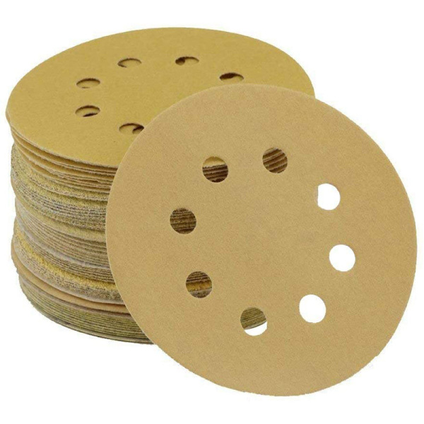96PCS 5 Inch 8 Holes Round Detail Sander Sandpaper Sanding Paper Dustless Hook 60/80/120/150/ 220/320/400/600 Grits