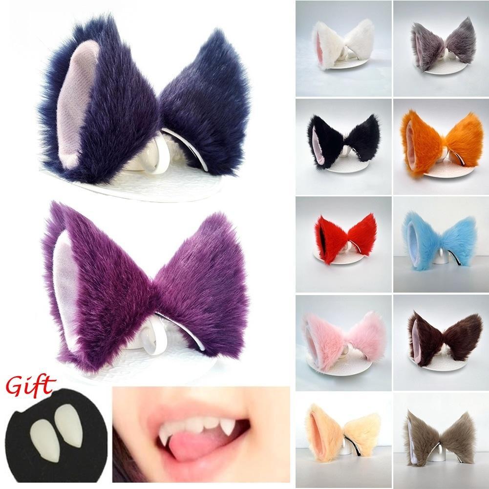 Cosplay Cat Ears Anime Neko Hair Clip(cat teeth for free)