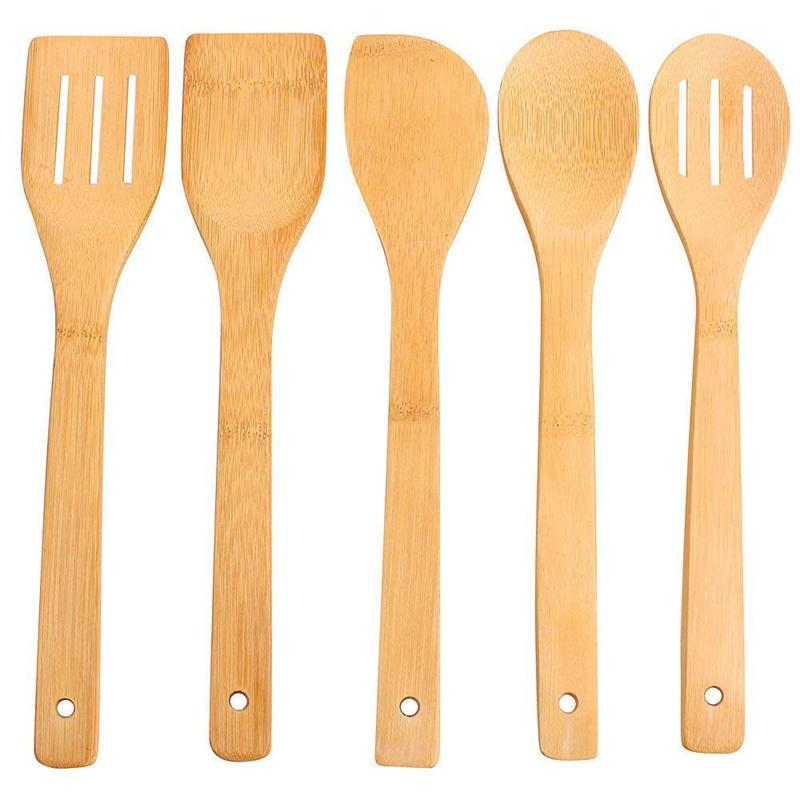 5 pcs kitchen utensils wooden anti-adhesive kitchen set of accessories bamboo 30CM spoon pot tools lift truck non-toxic