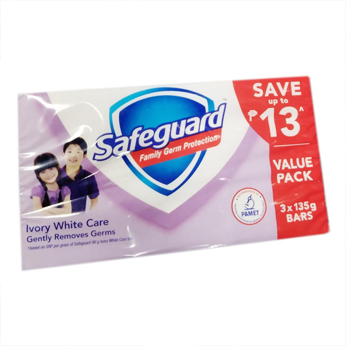 SAFEGUARD Family Germ Protection 135g x 3pcs, Ivory White Care