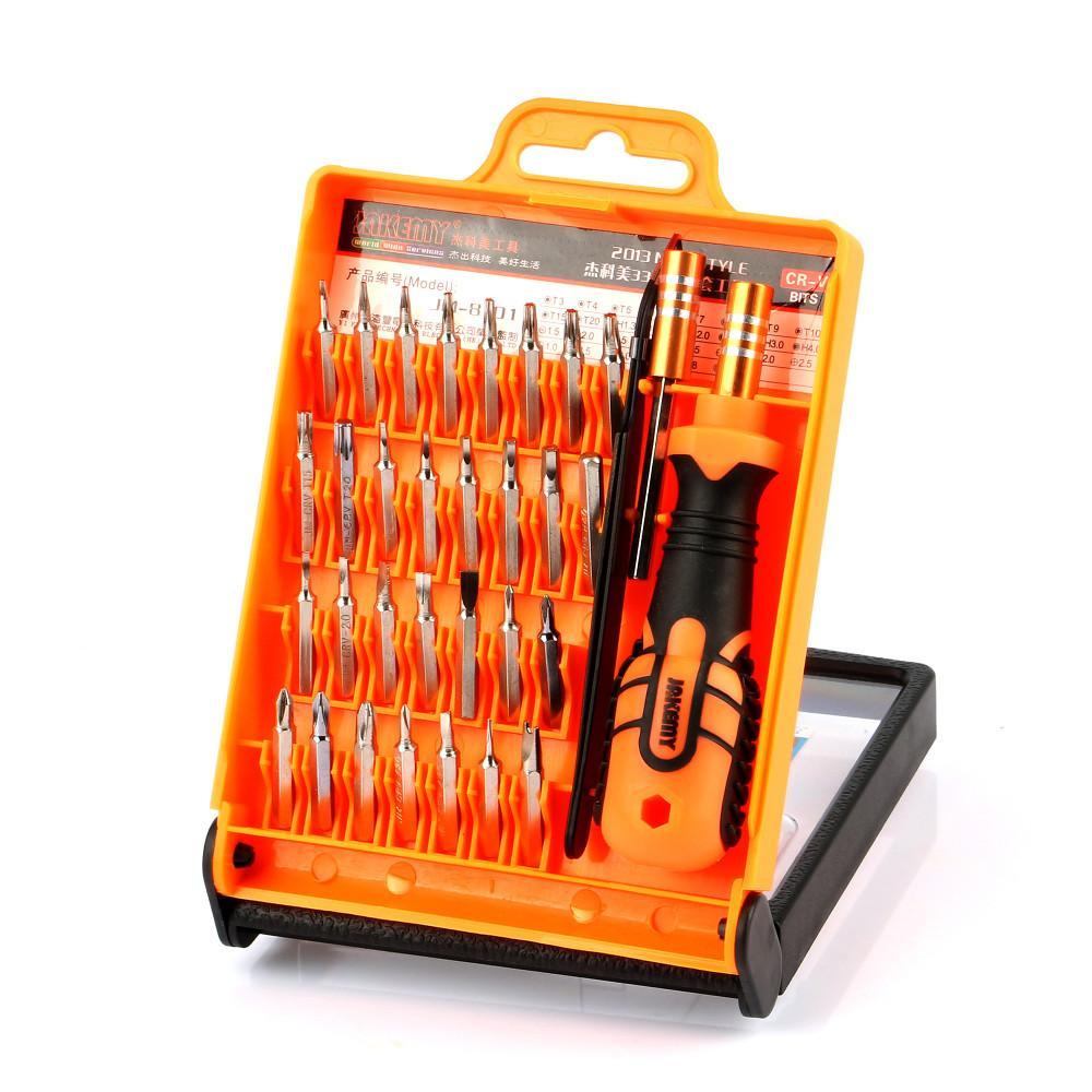 Star Mall JAKEMY JM-8101 33 in1 Multifunctional Precision Screwdriver Set Electronic Screwdriver Bits Repair Tools Kit Set 140*104*33MM Orange