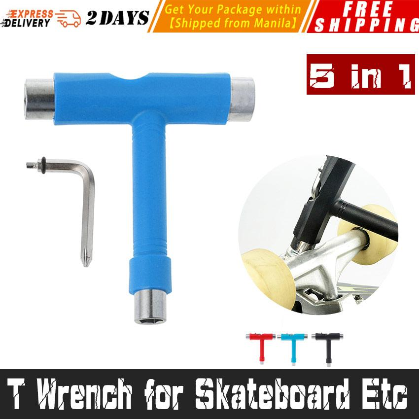 5 In 1 T Wrench For Skateboard Etc T-Tool Skateboard Tool Allen Key L Kick Scooter Tool Installation Double Rocker Skate Board Wrench Disassemble Board Multicolor By George Global.