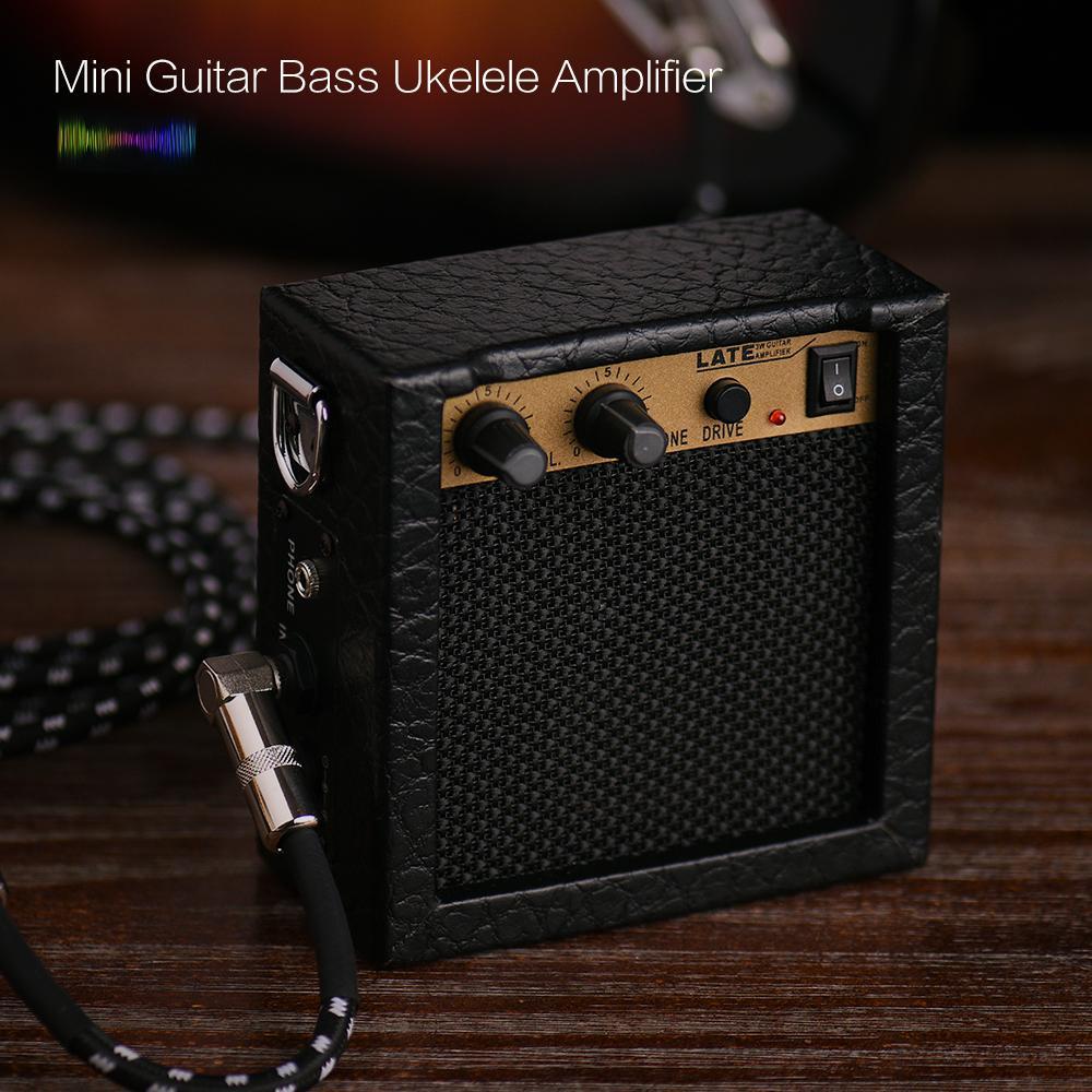 Battery Powered Mini Guitar Bass Ukulele Ukelele Amp Amplifier Speaker High-Sensitivity 3 Watt 9-Volt with Volume Tone Control Overdrive Function
