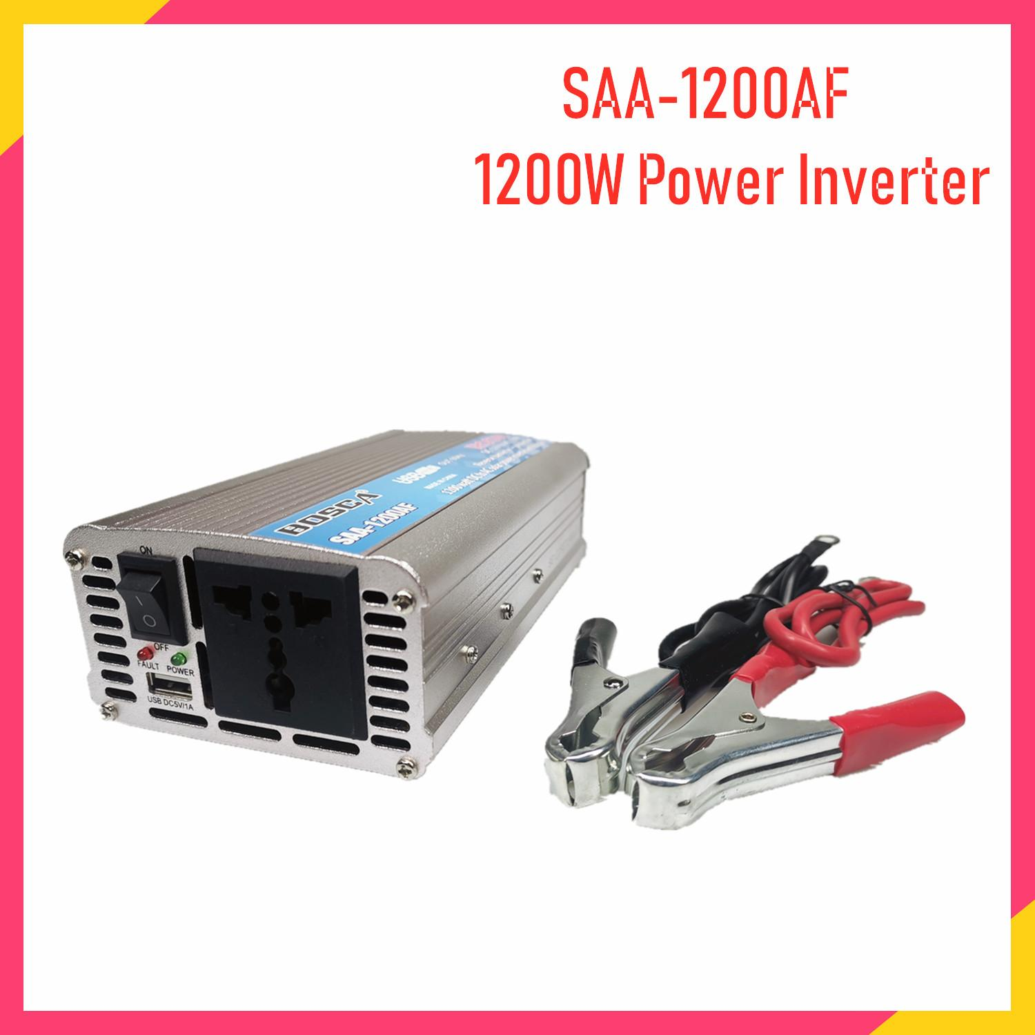 Bosca Solar Power Inverter 1200 Watt DC 12V To AC 220-230V Car Volt  Converter with Buzzer USB Charger For Home Use SAA-1200AF