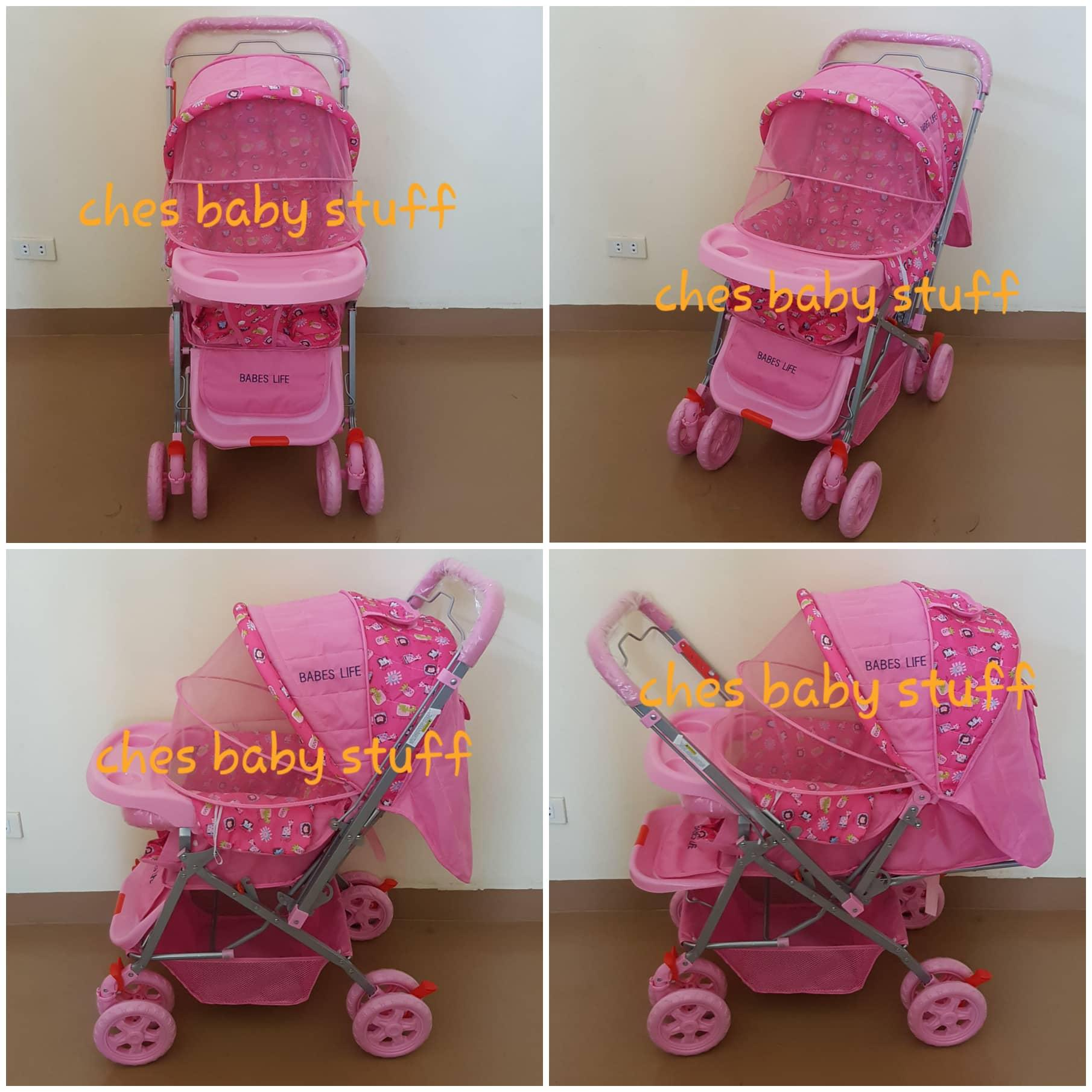 Babes Life Reclining Stroller Reversible Handle With Mosquito Net (pink) By Tinny Bunny.