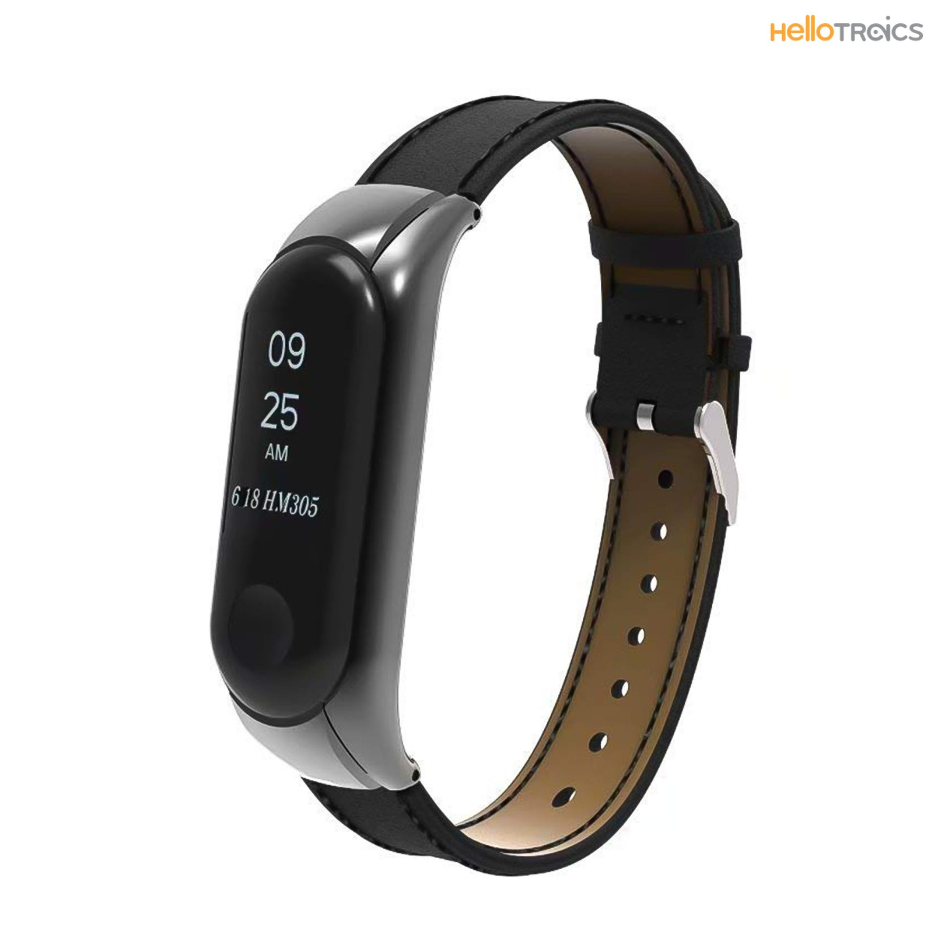 Xiaomi Mi Band 3 Replacement Leather Strap (black) By Hellotronics.