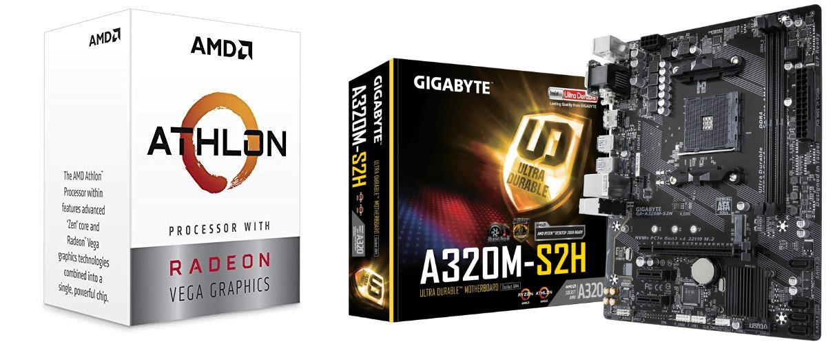 AMD Athlon 200GE 2-Core 4-Thread AM4 Socket Desktop Processor Radeon Vega  Graphics WITH GIGABYTE GA-A320M-S2H Motherboard
