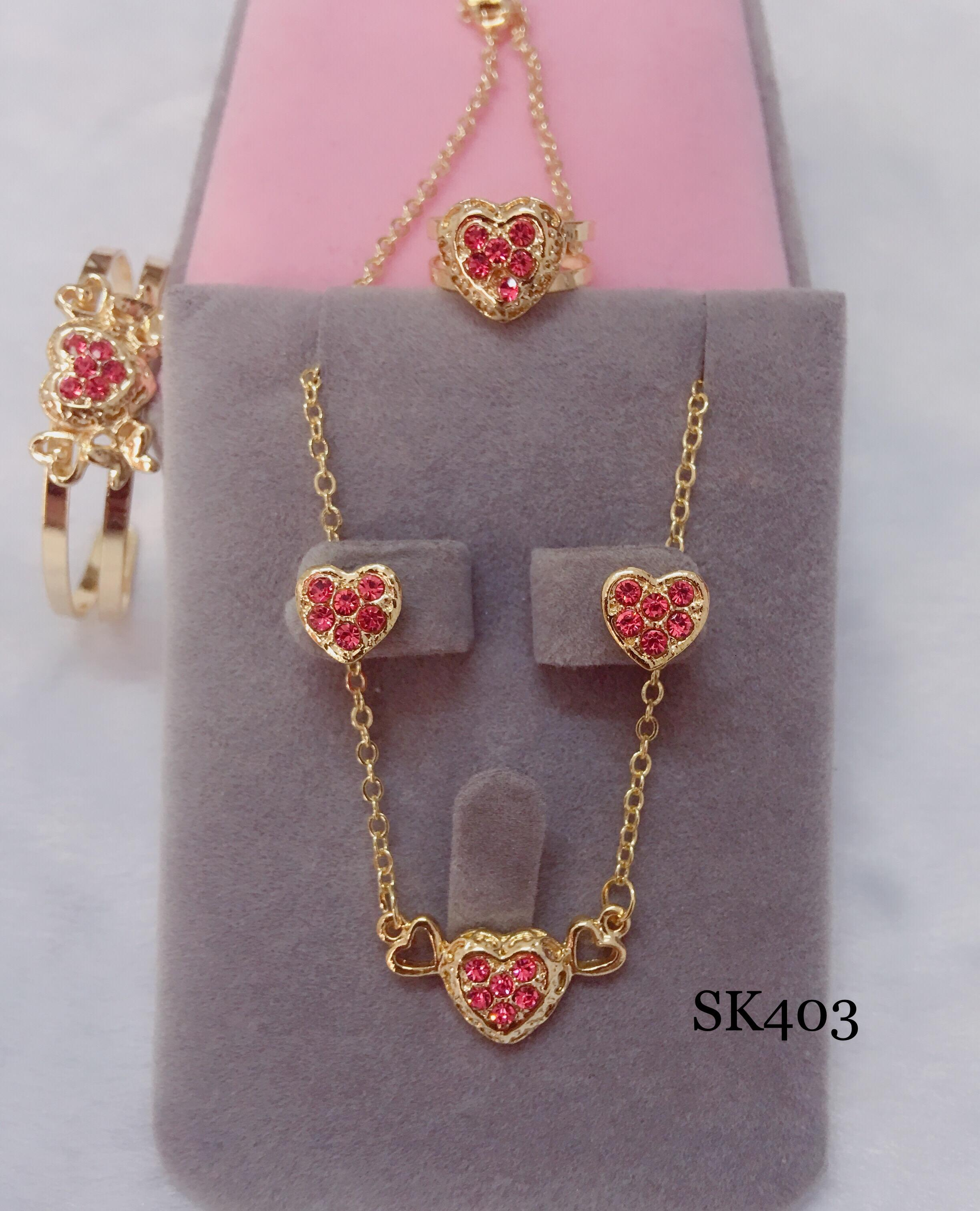 Sk403 18k Rose Gold Heart 4 In 1 Set For Kids By Miss M Shop.