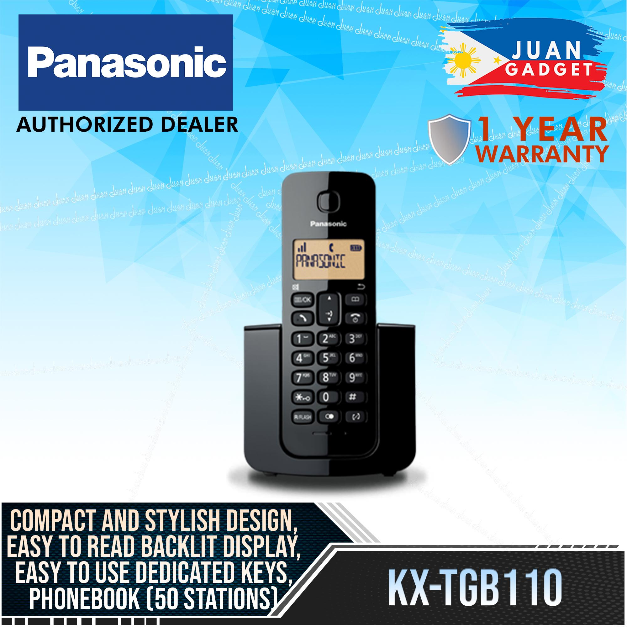 Panasonic KX-TGB110 Wireless Cordless Telephone Landline With Backlight, 50  Phonebook Stations, 100 Hours Standby Time