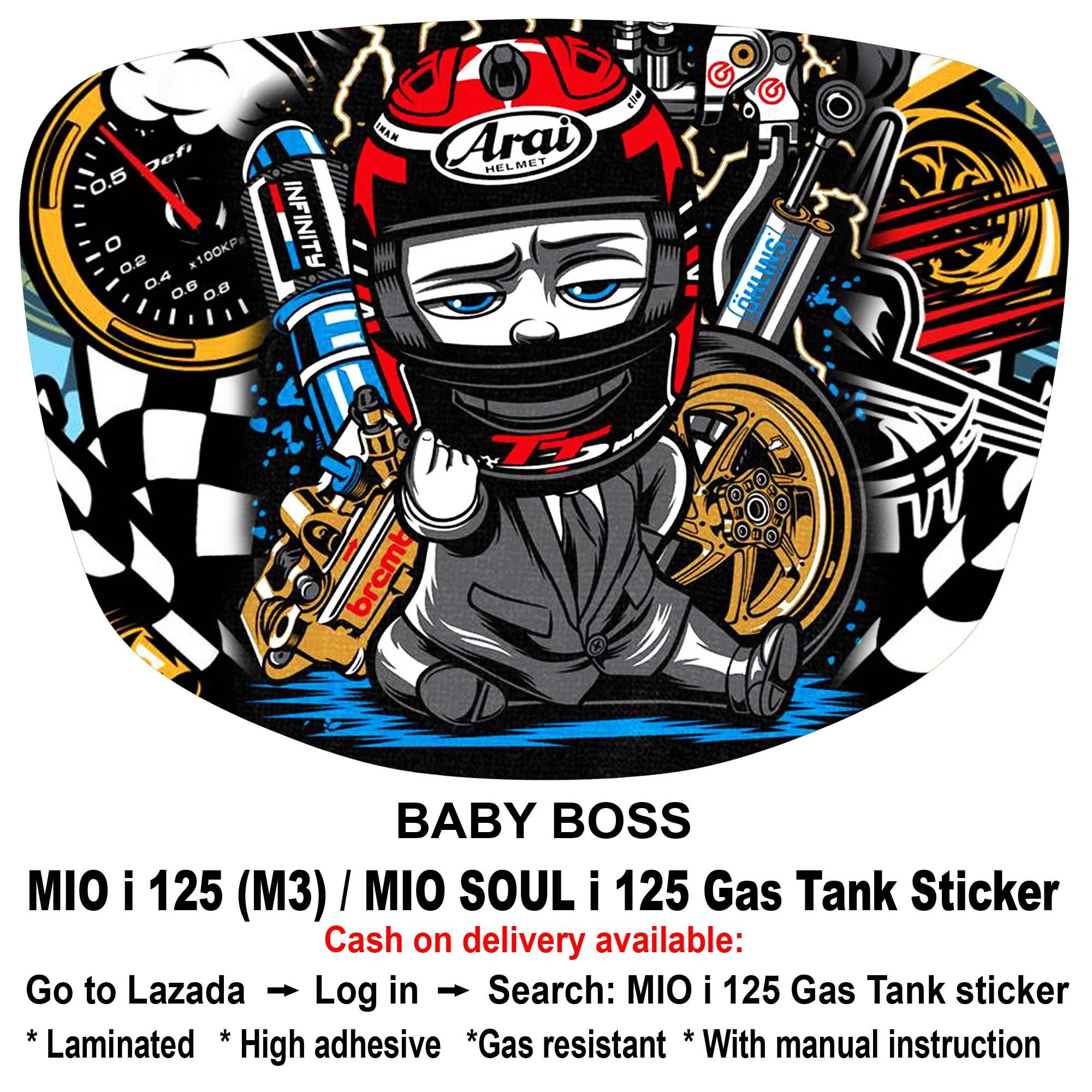 Mio i 125 msi 125 gas tank sticker baby boss
