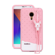 Fabitoo Cute ice cream silicone back cover case For Meizu MX5 With lanyard -Pink Color