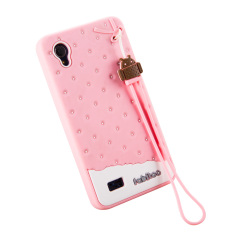 Fabitoo Cute ice cream silicone back cover case For VIVO Y11 With lanyard -Pink Color