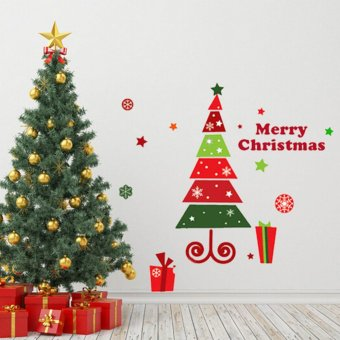 Fashion Cute Snowflakes Merry Christmas Tree Sticks Glass Window Stick Removable Wall Sticker Multicolor (Intl)