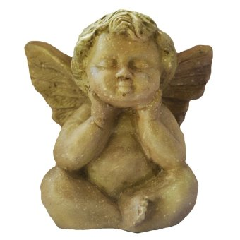 Fat Angel 20 CM Sitting down Garden Stone Finish Religious Item (Made of Fiberglass Resin) by Everything About Santa (Christmas decoration and gift suggestion)