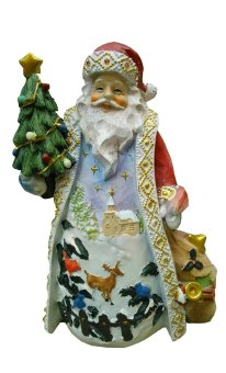 Fat Christmas Santa Claus with Tree and Bag of Gifts with Gems Figurine for the Holiday by Everything About Santa (Christmas decoration and gift suggestion)