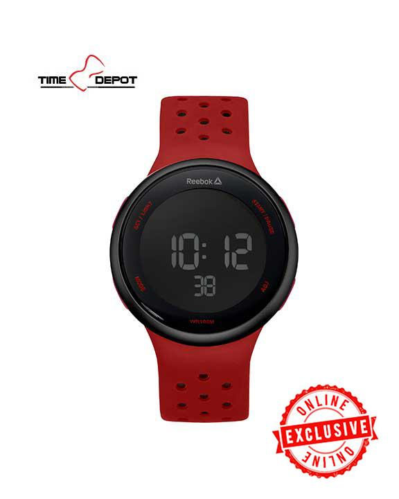 3c1f139dc Reebok Men s Digital Red Silicone Watch Strap RD-ELE-G9-PBIR-BR