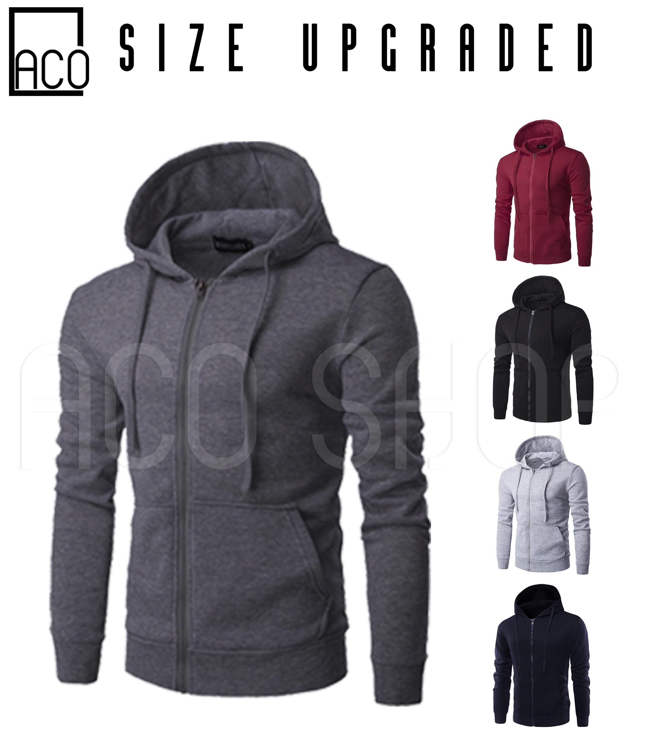 a1e99068d ACO Fashion M991 Mens Jacket with Zipper Hoodie Jacket Plain (Size Upgraded)