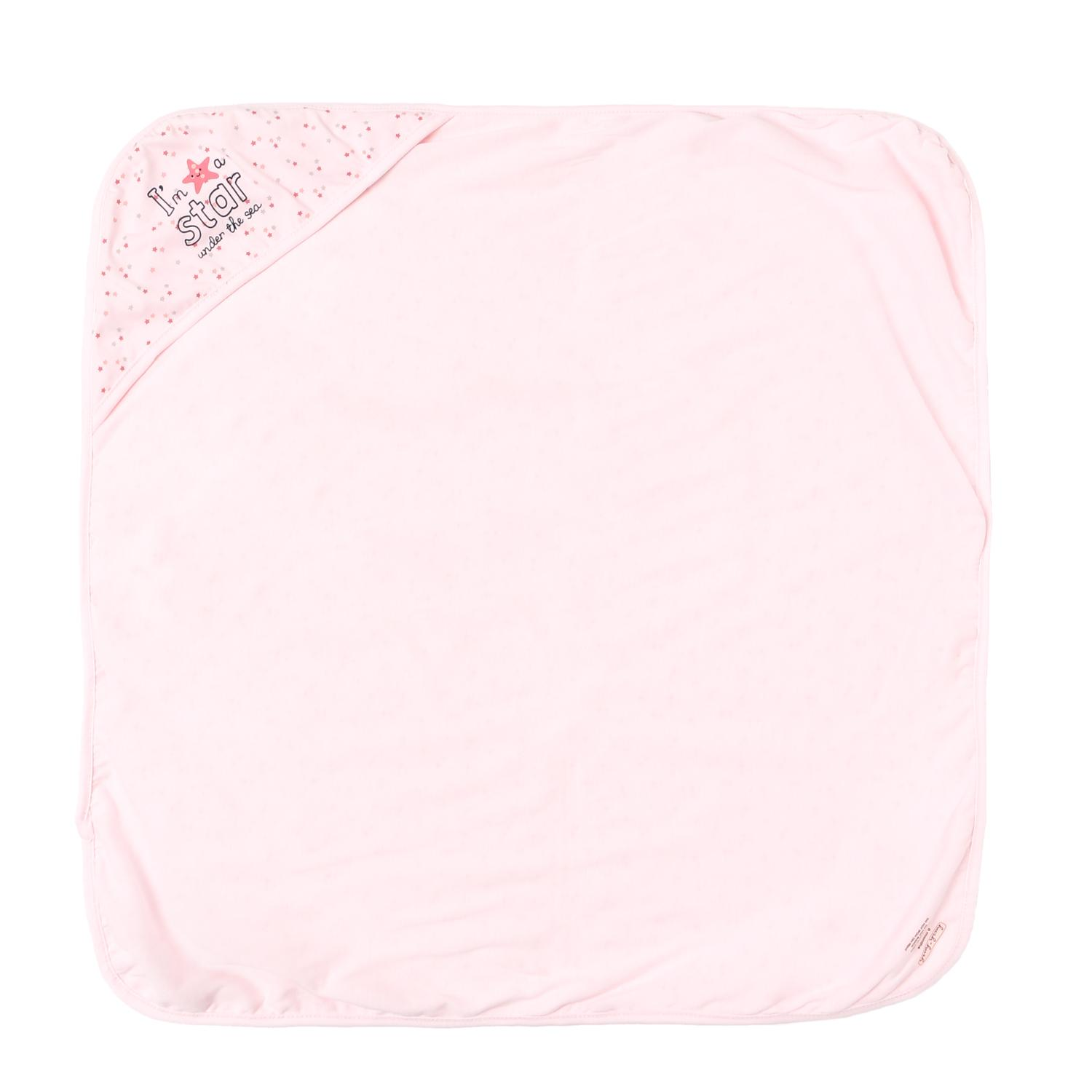 Hush Hush Baby Girls A Star Hooded Blanket 72 X 72cm In Pink By The Sm Store.