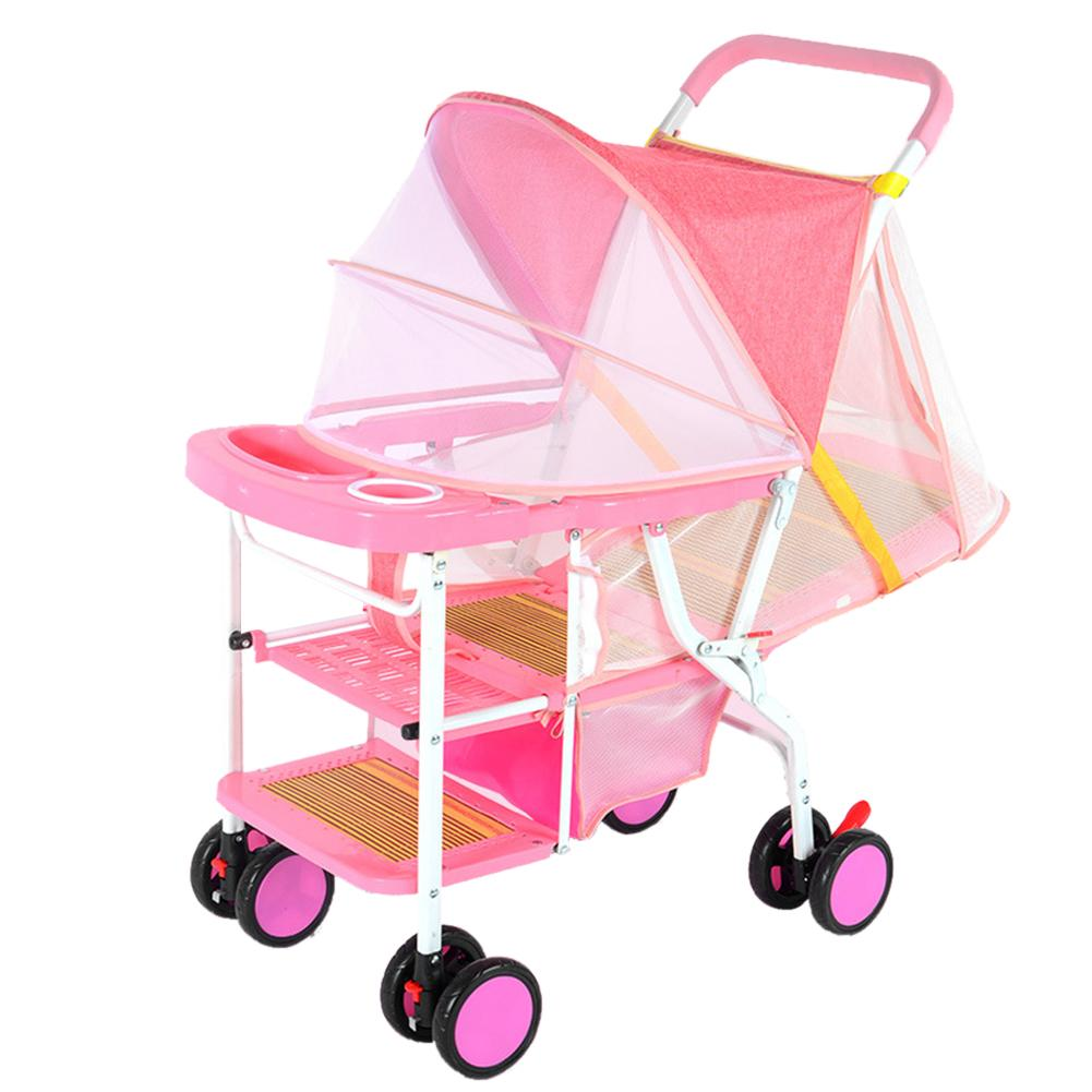 MG【Big Discount】เด็กทารกในฤดูร้อนน้ำหนักเบาพับทอไม้ไผ่นั่งโกหกเก้าอี้รถเข็นเด็ก