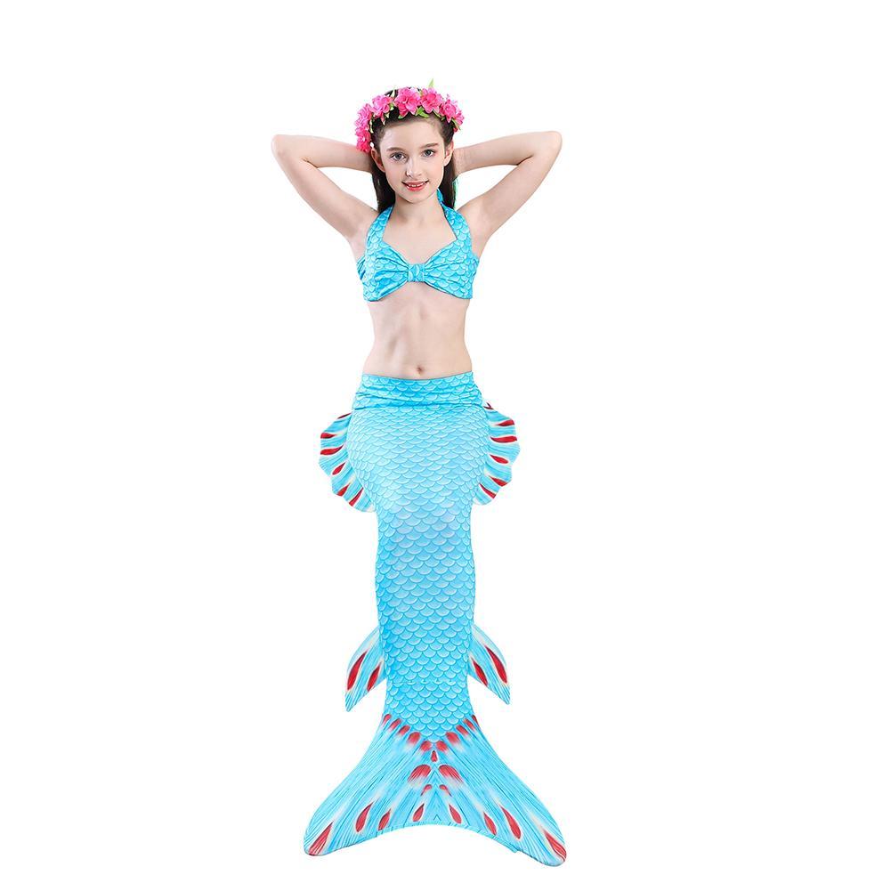 ad77cf0cff Supermall 3Pcs Set Girls Bikini Set Mermaid Tail Princess Swimsuit Kids  Swimwear For Height 120cm