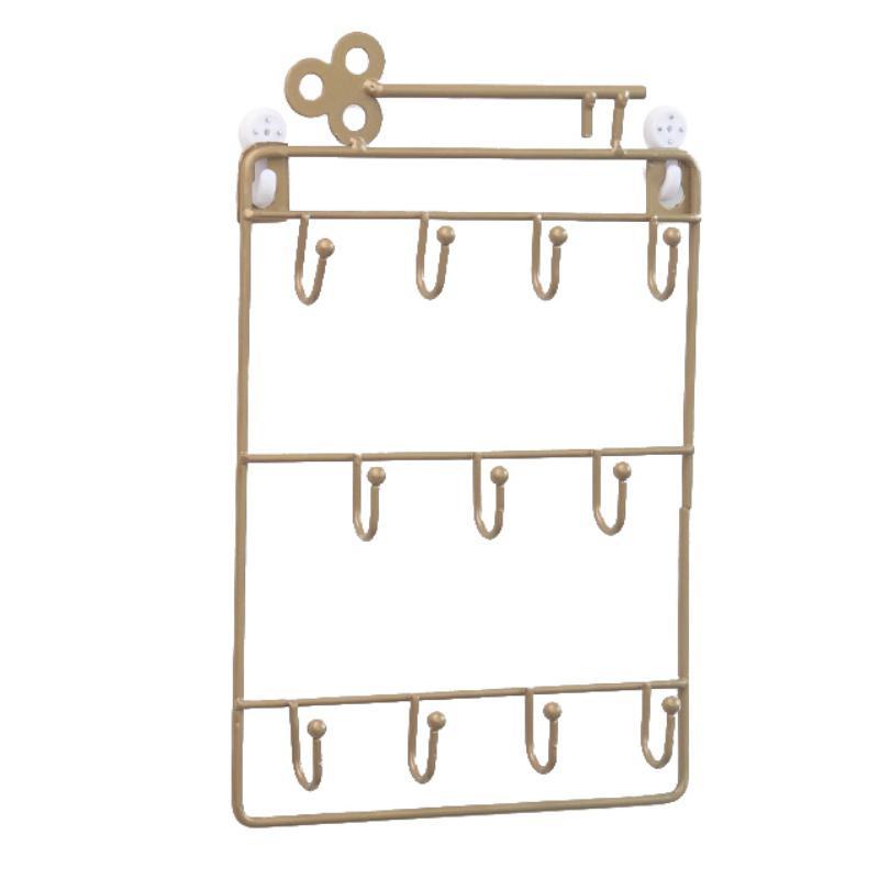 Iron Wall Mounted Hooks 11 Hangers Decorative Key Holder Coat Hat Rack Home Decor Storage Organizer Key Holder Wall
