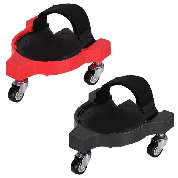 2x Rolling Knee Protection Pad with Wheel Built in Foam Padded Laying Platform Universal Wheel Kneeling Pad (Red&Black)