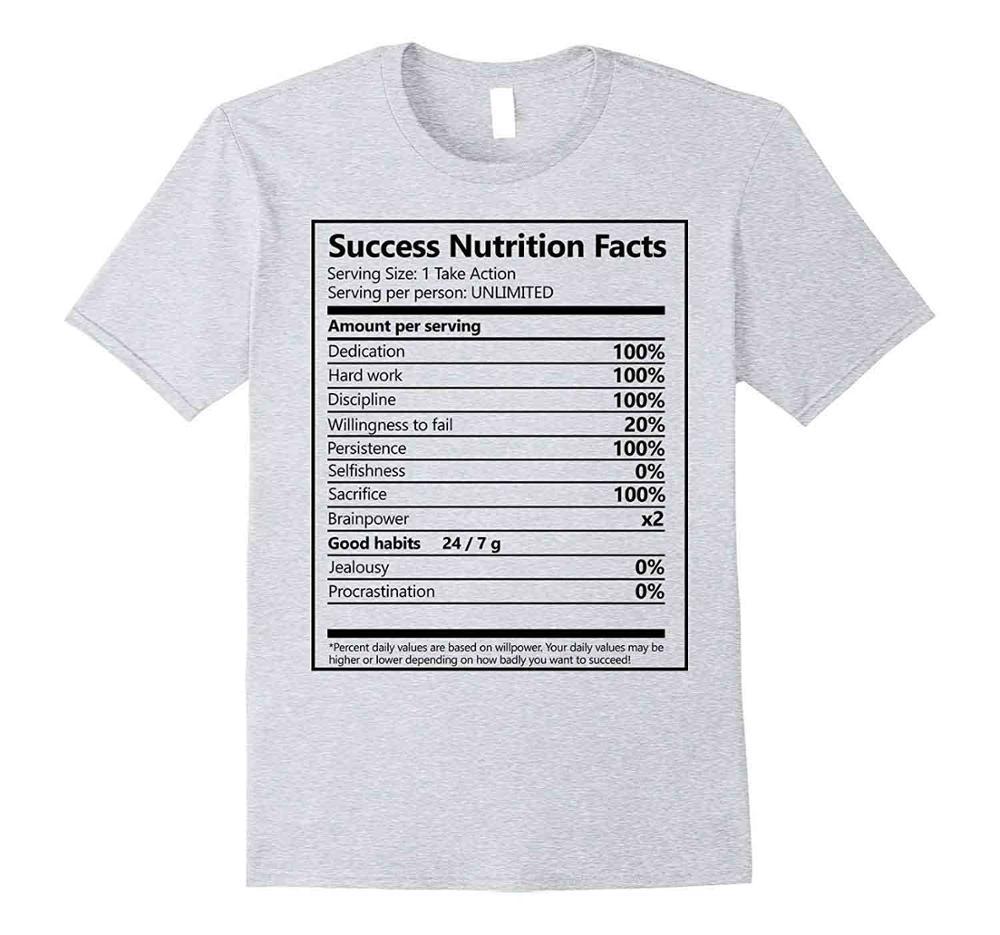 7d1e83d0 Men Success Nutrition Facts Entrepreneur Motivation 2019 New Summer Casual  O-Neck Color Loose Basic