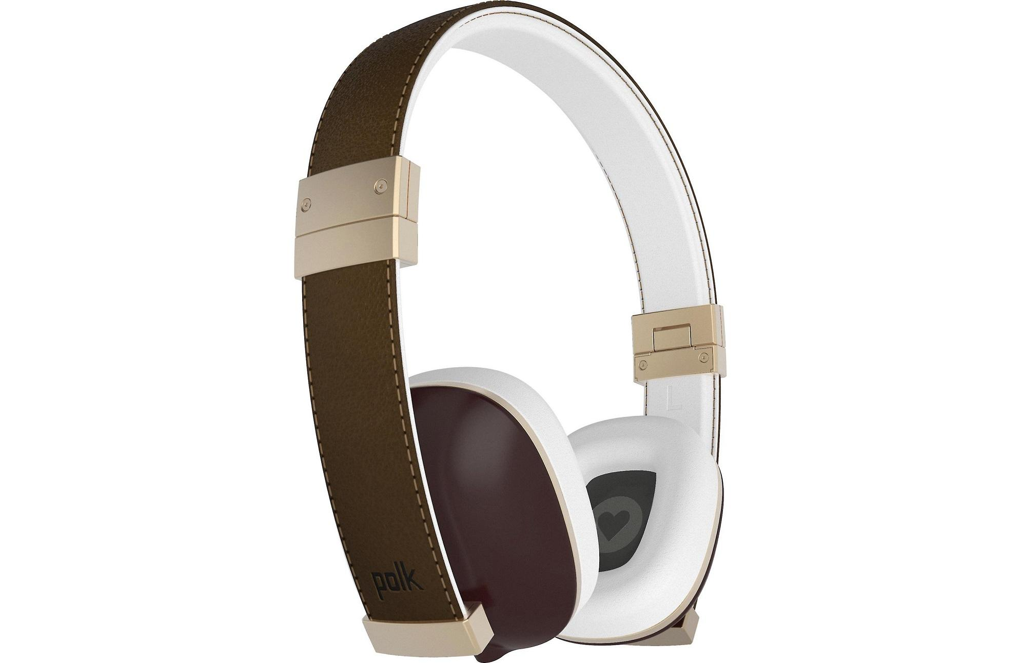 Polk Audio Hinge On-ear headphones with in-line remote and microphone (Brown)