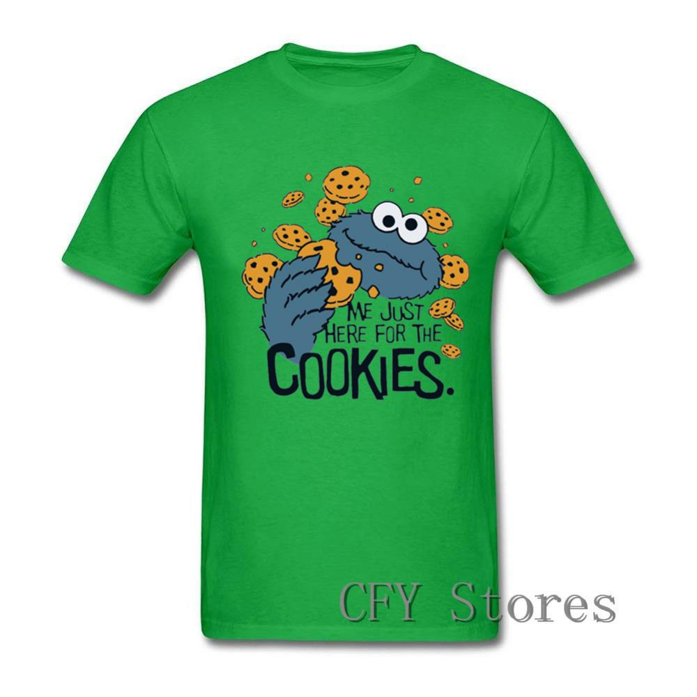 3a54bbc41fc 2019 Newest fashion Me Just Here for the Cookies Charismatic guy T Shirt  Novelty Sesame Street