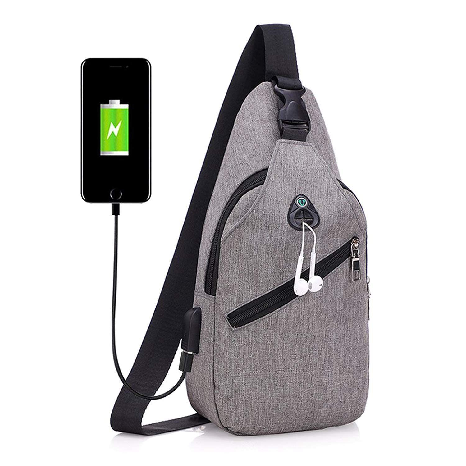 Sling Bag with USB Charging Port   Headphone Hole Smart Crossbody Bag  College School Chest Casual 956a88b00e9cb