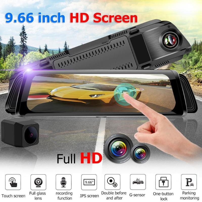 "iFlashDeal Dash Cam Car Camera 9.66"" Dual Lens 2.5D surface Touch Screen Stream Media"