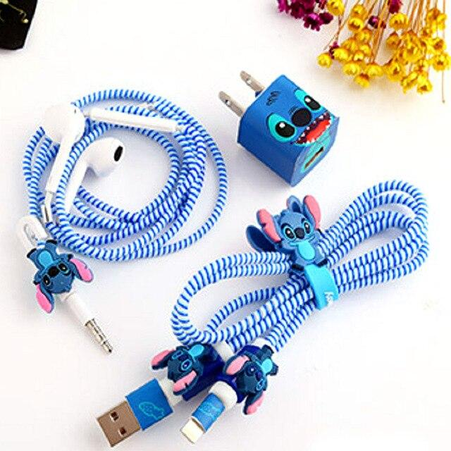 [ALL IN BEST CHOICE] Fashion Cute Cartoon USB Cable Earphone Protector Set With Cable Winder Stickers Spiral Cord Protector Universal Compatibility image