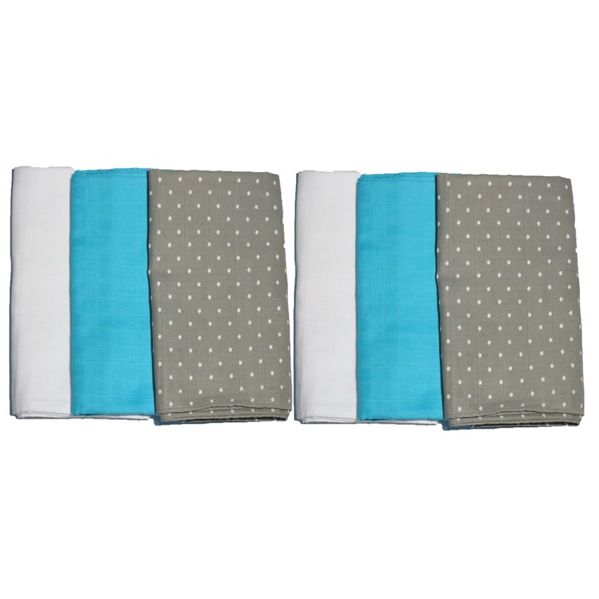 Feo en Rafa Muslin Swaddle (White/Aqua/Stars) Bundle of 6 product preview, discount at cheapest price