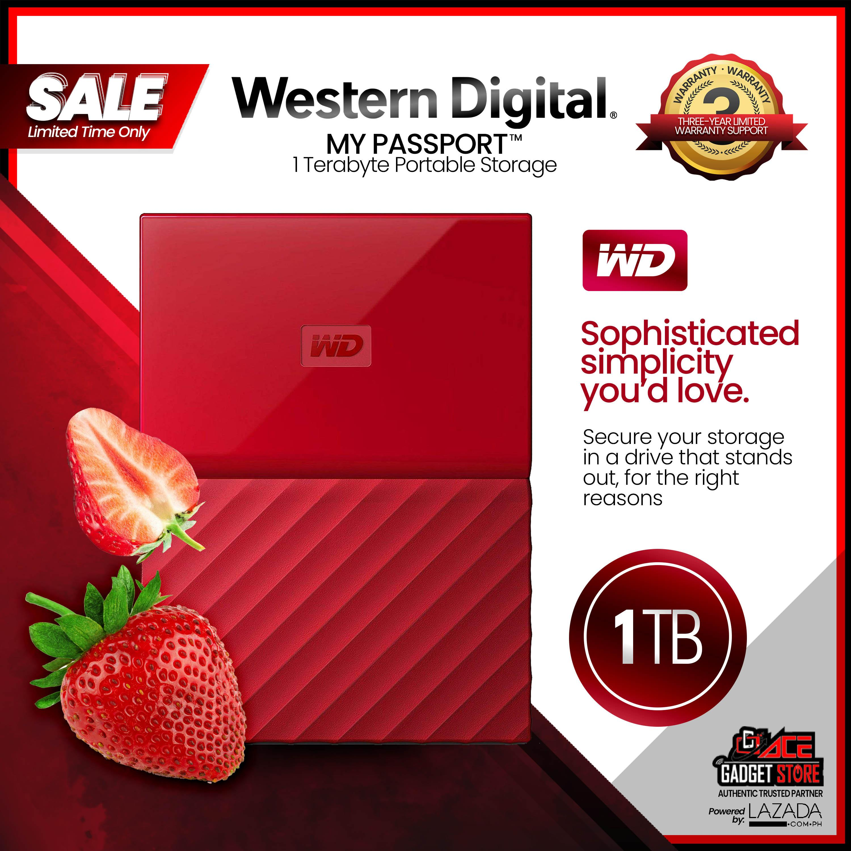Western Digital My Passport™ 1 TB Portable Storage (Red), 2 5