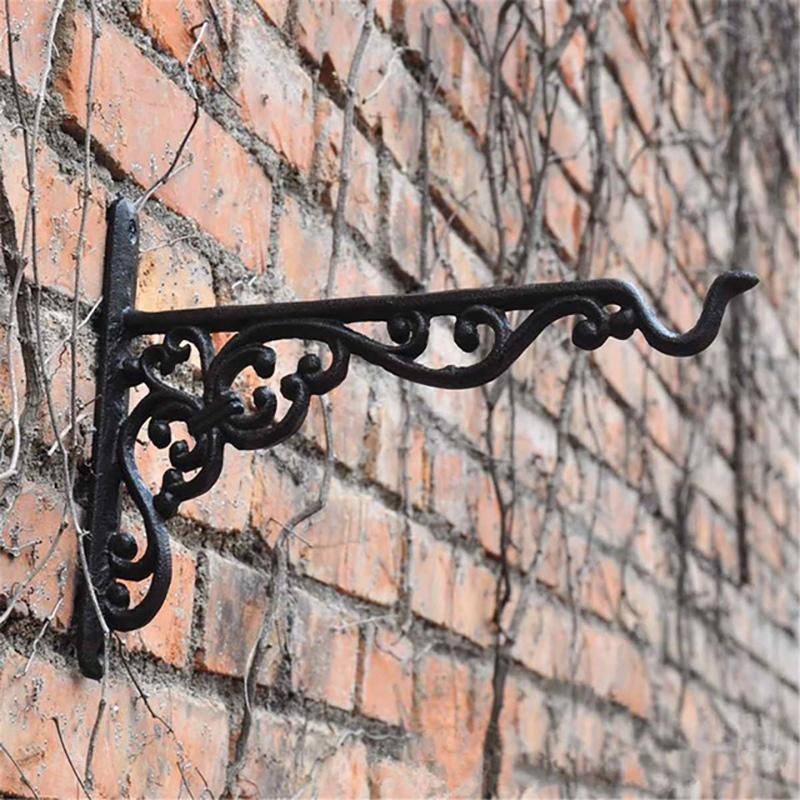 Cast Iron Hanger Wrought Iron Garden Hook Flower Pots Basket Wall Hanger Bracket With Expansion Screw