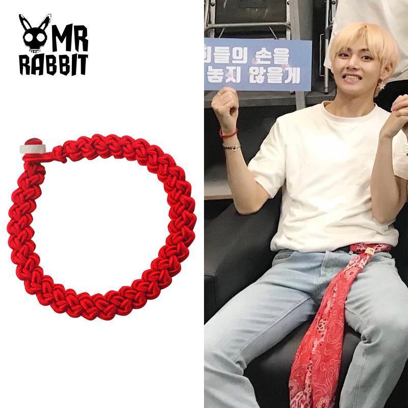 BTS V Same Red String Lucky Bracelet Transfer Beaded Elasticated Bracelet