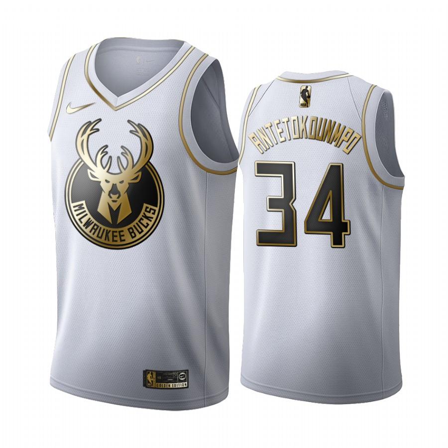 Giannis Antetokounmpo #34 Milwaukee Bucks Black Golden Jersey Edition Stitched