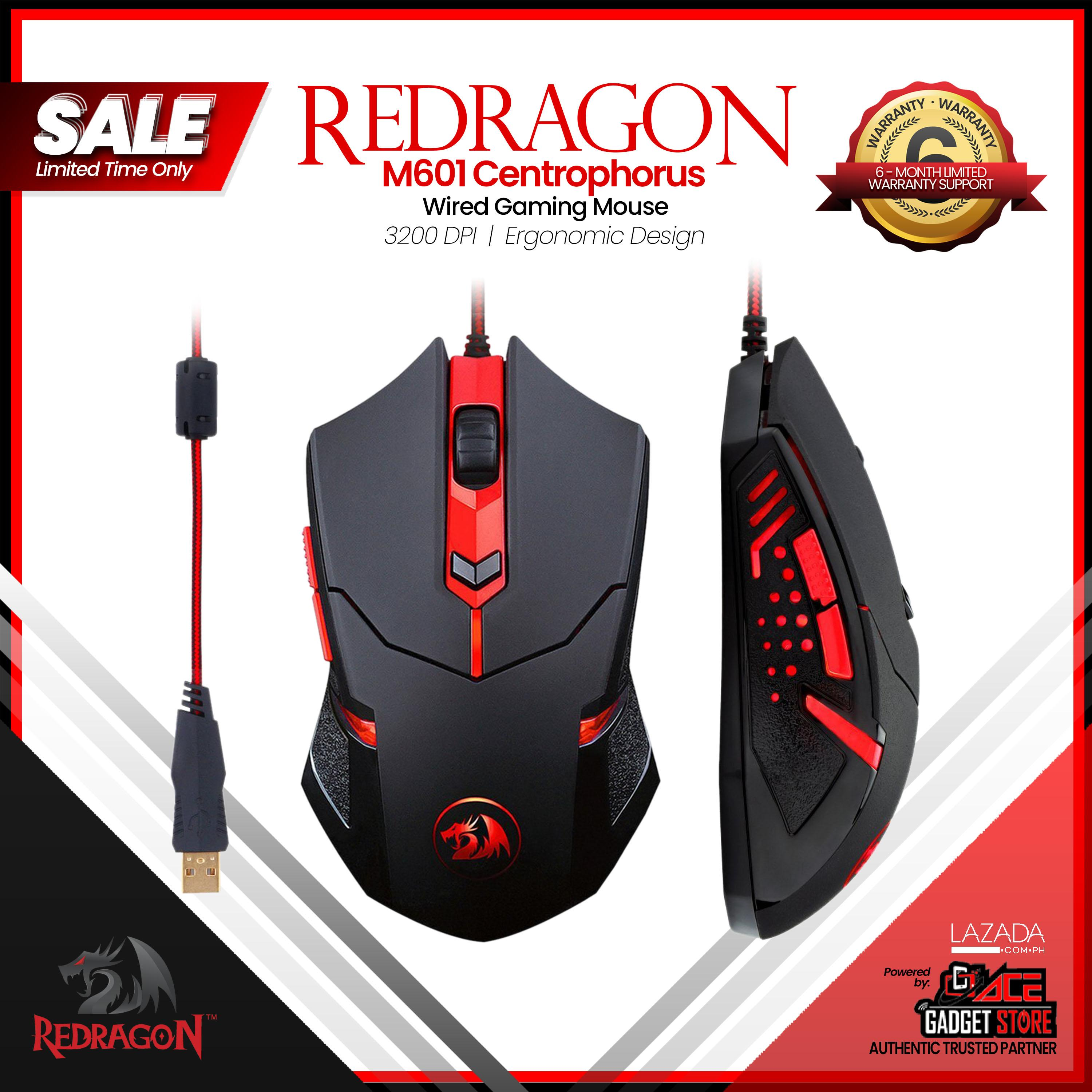 Redragon M601 Centrophorus Wired Gaming Mouse, Ergonomic, Programmable 6  Buttons, 3200 DPI, Red LED Backlight - Black