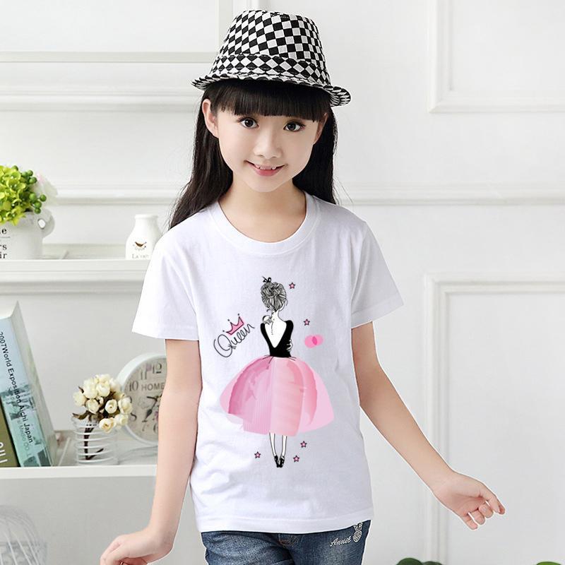 29b74391 Queen T-shirt Girls Cartoon Pattern T-shirt Children Summer Short Sleeves  100%