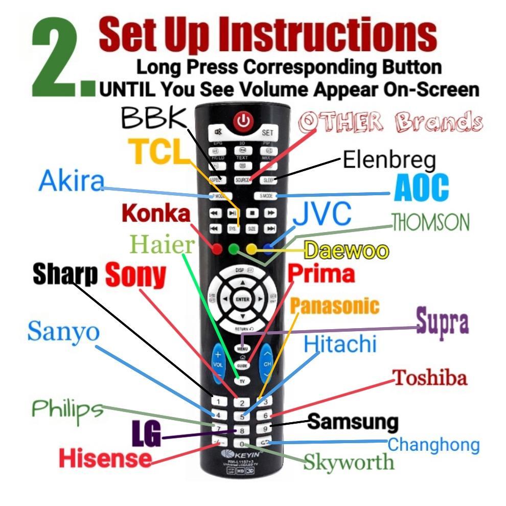Universal SmartTv LED LCD TV Remote Control- Keyin RM-1107 for SHARP SONY  PANASONIC SANYO HITACHI TOSHIBA PHILIPS LG SAMSUNG AKIRA AOC BBK ELENBREG