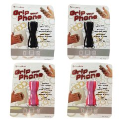 Finger Sling Grip Your Phone Set of 4 (Pink and Black)