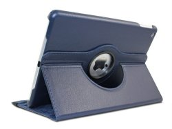 Flip Leather Case 360 Rotate for Apple iPad mini 1 2 3 (Navy Blue)