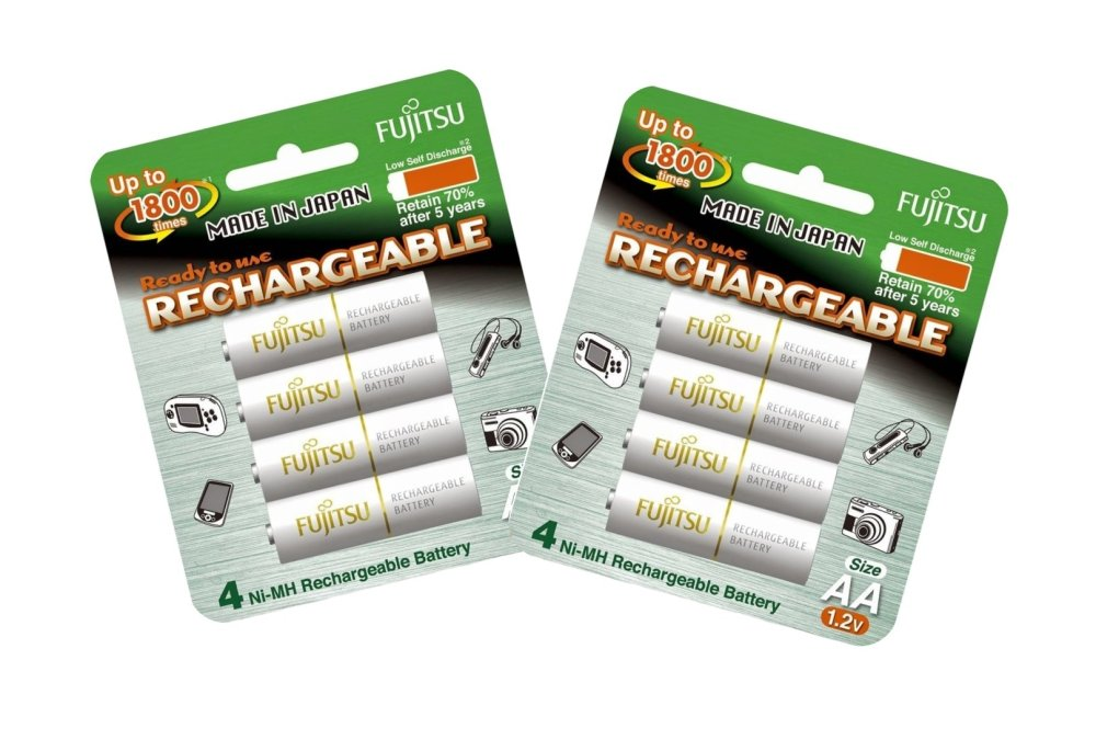 Fujitsu Ready-to-Use AA Rechargeable Batteries Set of 2 (White) - thumbnail